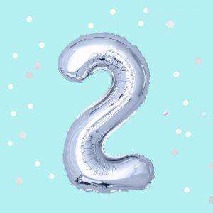Фолиев балон с клечка цифра 2