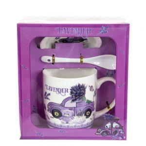 Подарък чаша с лъжичка и капаче-Лавандула