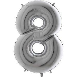 Балон цифра Осем сребро 30 см.