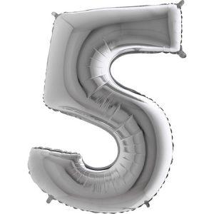 Фолиев балон с клечка цифра Пет сребро 30 см.