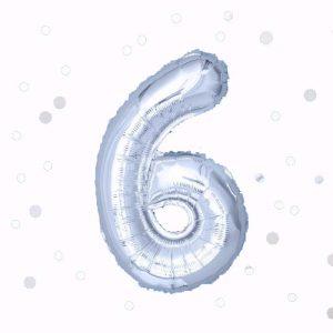 Фолиев балон с клечка цифра Шест сребро 30 см.