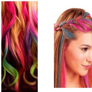 Цветни тебешири за коса 12 броя