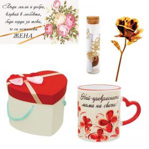 Комплект за мама със златна роза